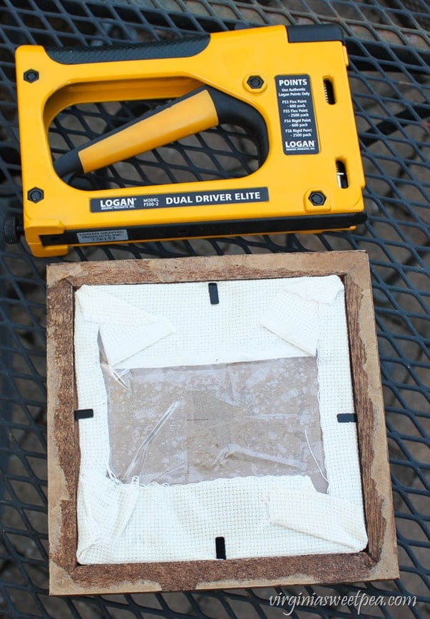 How to Clean a Vintage Cross Stitch - Use a Point Driver to hold the Cross Stitch in the Frame. - virginiasweetpea.com