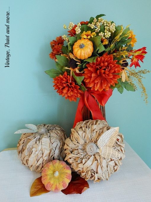 Make a Twisted Paper Pumpkin using a Dollar Store Pumpkin and Paper Bags