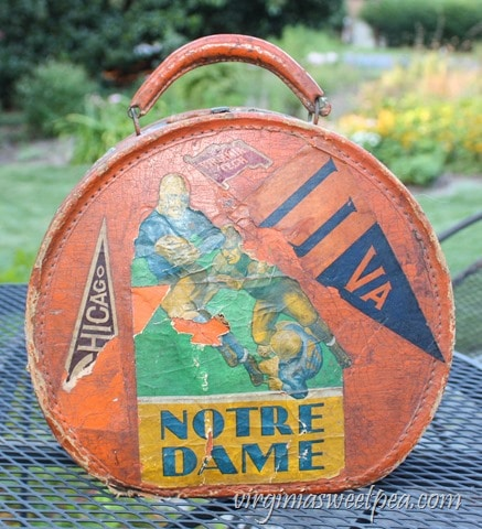 Vintage Travel Case with College Pendant Stickers from the 1930's - virginiasweetpea.com