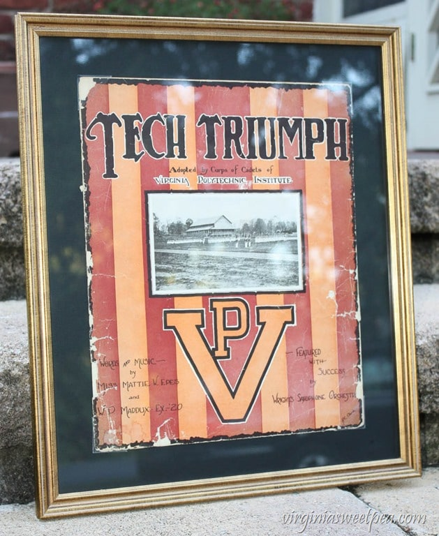 Tech Triumph VPI Sheet Music - This song was first performed November 1, 1919 before the VPI vs Washington and Lee game. virginiasweetpea.com