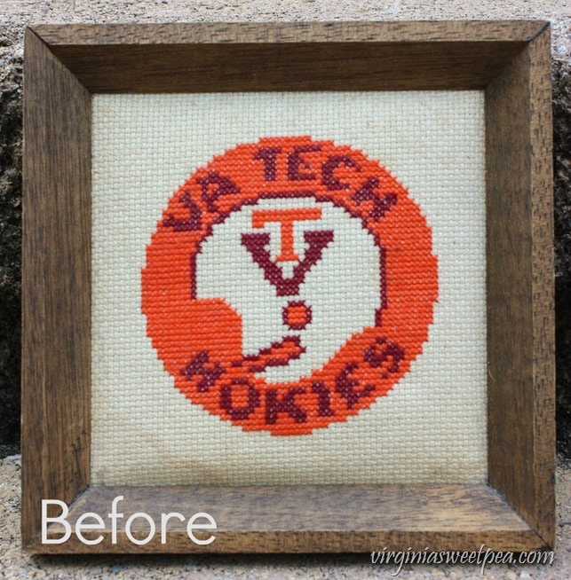 Vintage Virginia Tech Hokies Cross Stitch Before Cleaning - virginiasweetpea.com