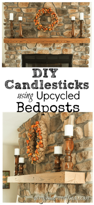 DIY Candlesticks using Upcycled Bedposts - Bedposts from a trash pile were upcycled into candle holders. virginiasweetpea.com