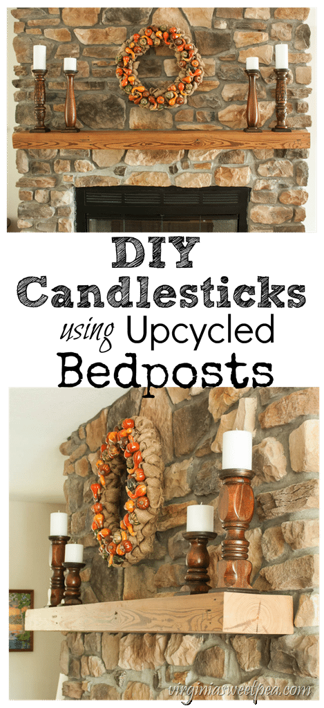 DIY Candlesticks Made from Upcycled Bedposts - Make easy candlestick holders from bedposts. Get the step-by-step tutorial to learn how to make your own. virginiasweetpea.com