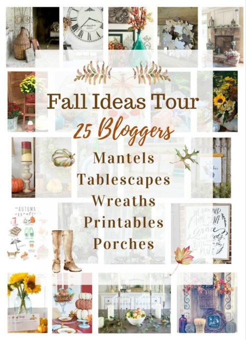 Fall Ideas Tour - 25 Bloggers Share Ideas for Decorating Your Home for Fall - Get ideas for mantels, tablescapes, wreaths, and porches and also get free fall printables.