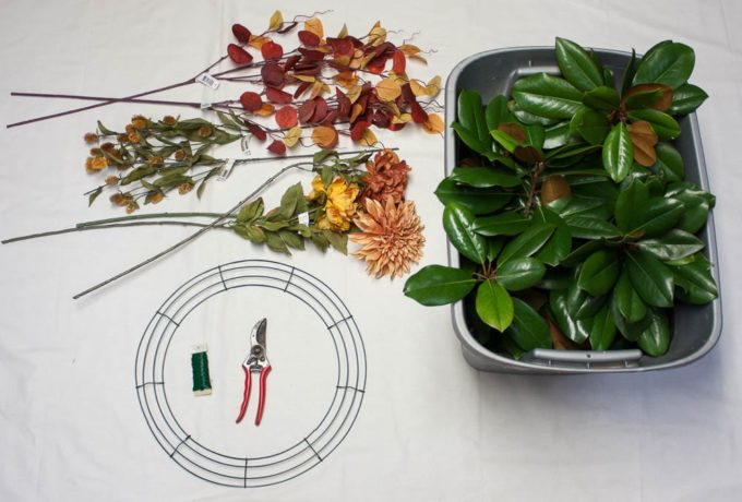 Supplies Needed to Make a DIY Magnolia Wreath Styled for Fall