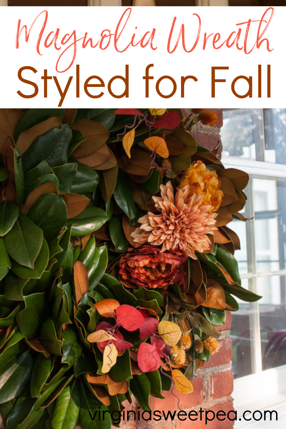 Handmade Magnolia wreath decorated with fall florals