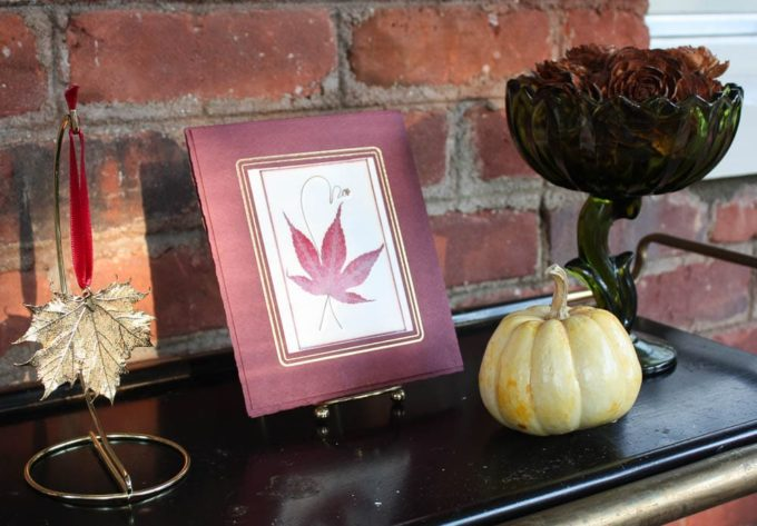 Fall Decor including a pressed maple leaf, gold maple leaf, pumpkin, and pine cones that look like roses.