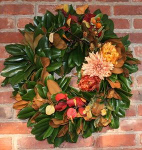 DIY Magnolia Wreath Styled for Fall - Learn how to make a wreath like this one for your home. virginiasweetpea.com