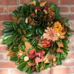 Magnolia Wreath Styled for Fall