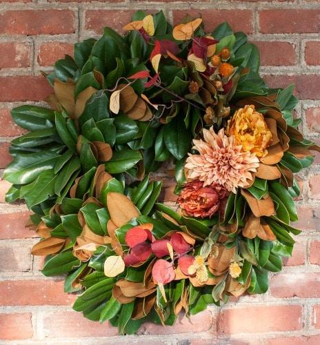 DIY Magnolia Wreath Styled for Fall