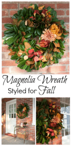Magnolia Wreath Styled for Fall - Learn how to make a wreath like this one for your home. virginiasweetpea.com