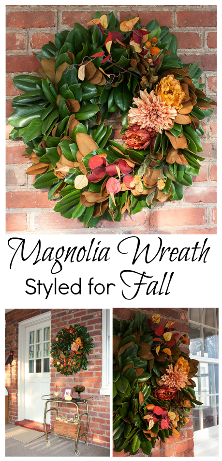 Magnolia Wreath Styled for Fall - virginiasweetpea.com