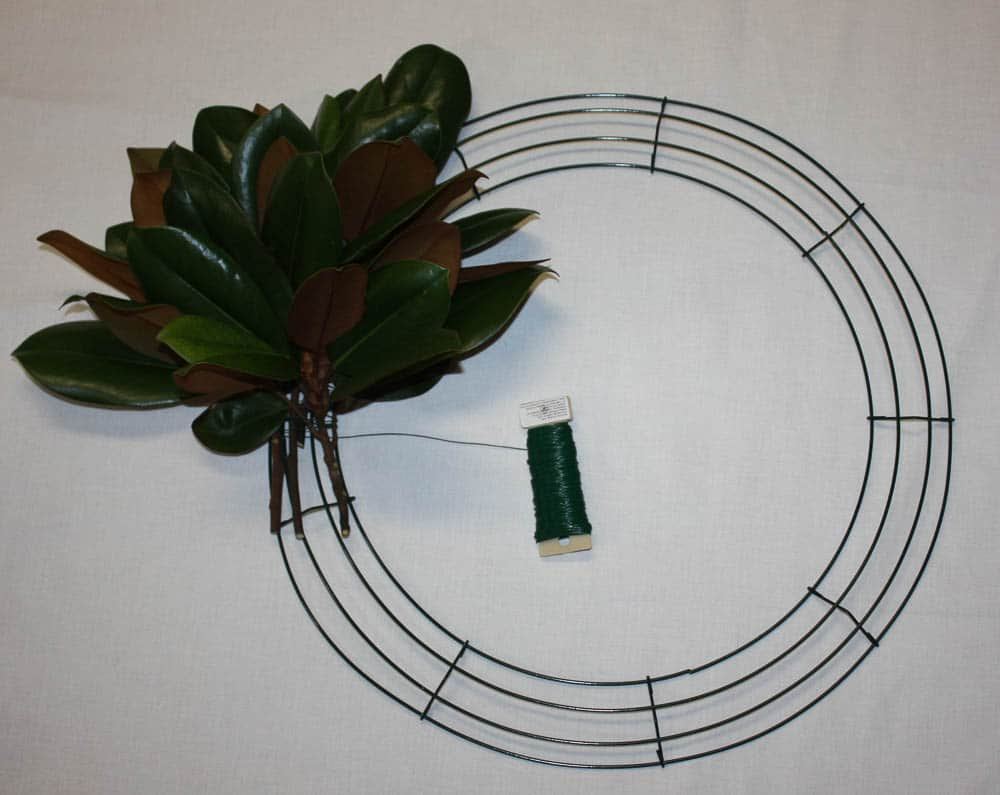 How to Make a Magnolia Wreath using a wire wreath form
