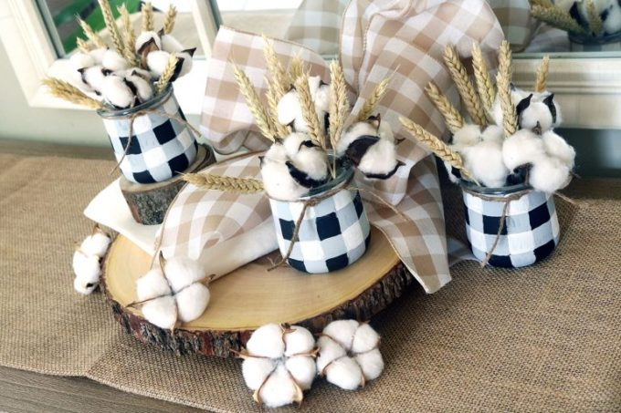 Use Oui Yogurt Jars to Make Plaid Jars for Fall