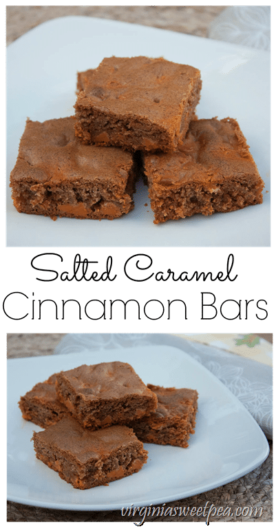 Salted Caramel Cinnamon Bars - Cinnamon infused batter is made extra tasty with the addition of Salted Caramel baking chips. This recipe is a real crowd pleaser! virginiasweetpea.com