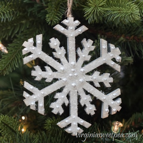 Sparkling Snowflake Christmas Ornament - Learn how to embellish a craft store snowflake for your tree or Christmas decor. virginiasweetpea.com