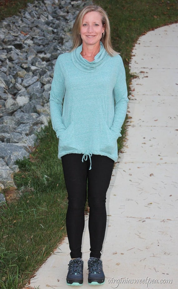 October 2017 Stitch Fix Review - Ink Love & Peace Calyn Cowl Neck Knit Pullover - virginiasweetpea.com