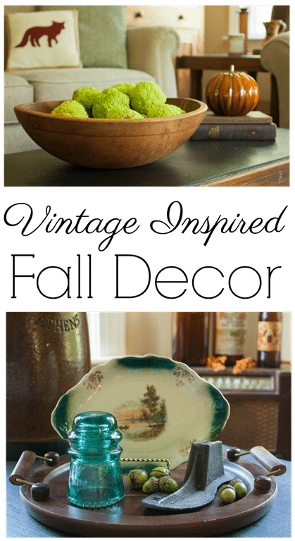 Vintage Inspired Fall Decor - Fall decor using vintage items. - virginiasweetpea.com
