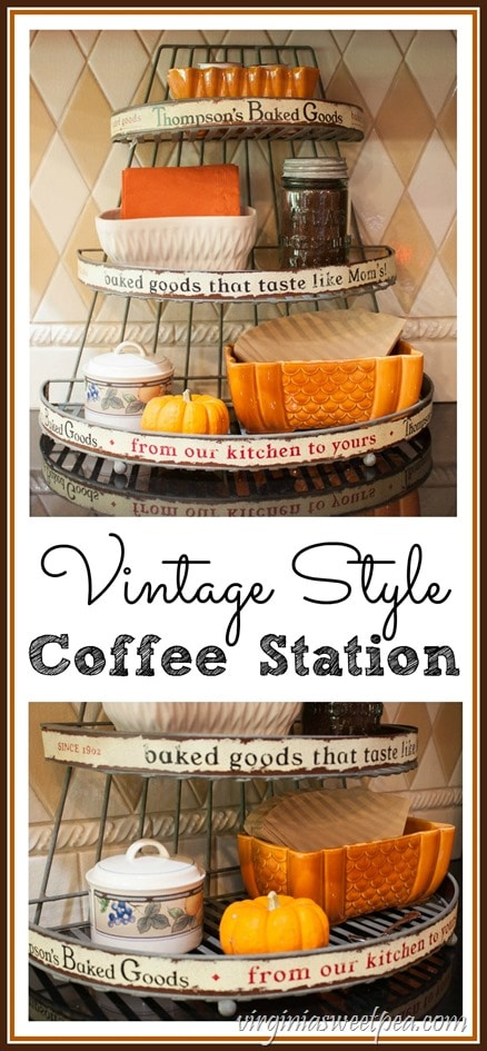 Vintage Style Coffee Station - A wire baked goods rack is used to hold coffee making supplies. virginiasweetpea.com