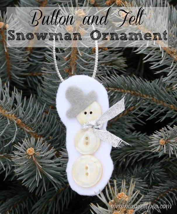 Button and Felt Snowman Ornament - Get the tutorial to make this for your tree. virginiasweetpea.com