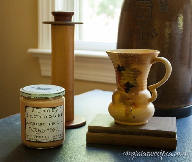 Fall Vignette with a Vintage Spool, Pitcher, and Books - virginiasweetpea.com