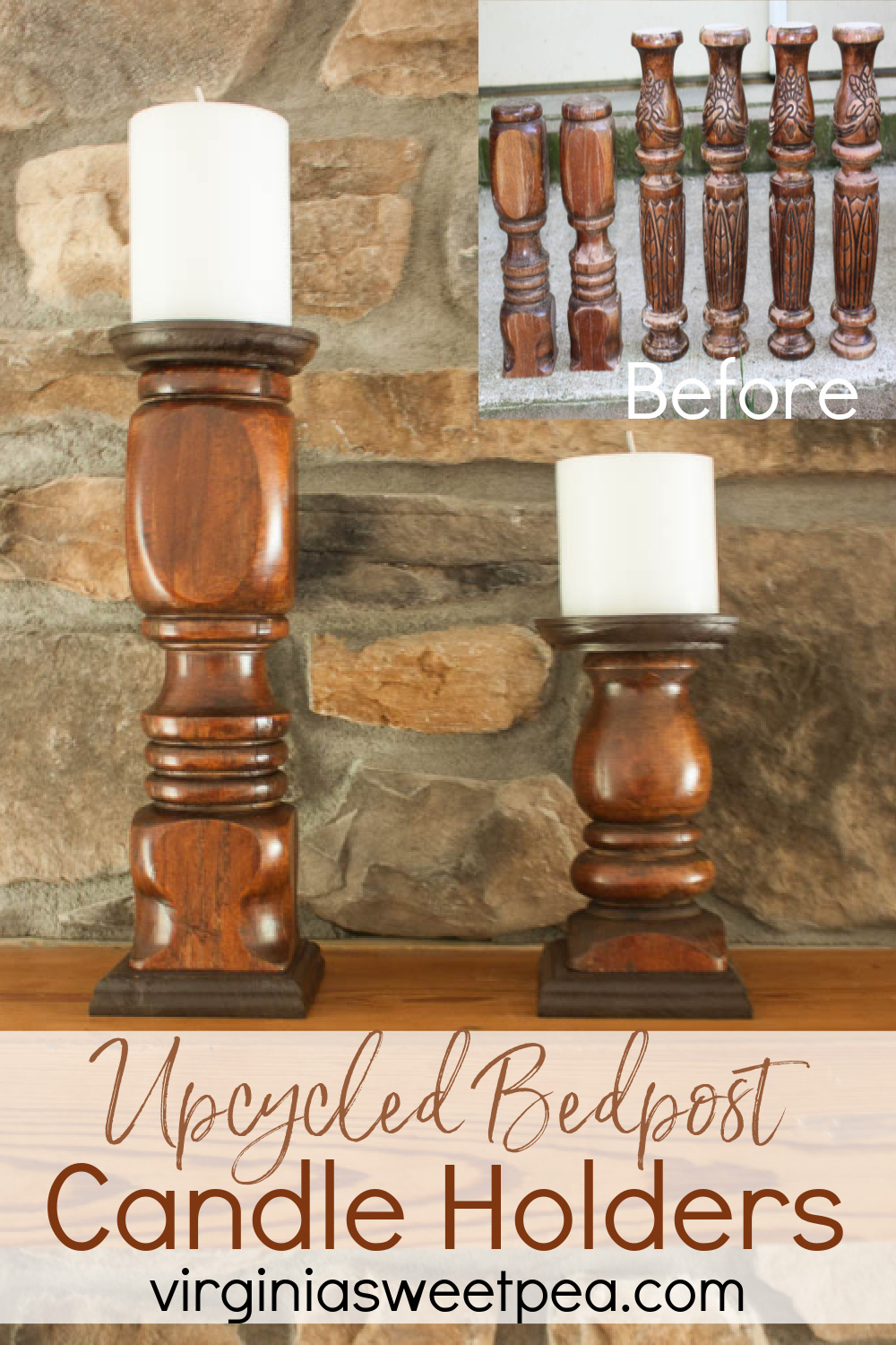 DIY Candlesticks using Upcycled Bedposts - Bedposts found in a trash pile were transformed into beautiful candle holders.  Get the step-by-step tutorial to learn how to make your own.  #upcycledbedposts #upcycledproject #diycandlesticks #diycandleholders via @spaula