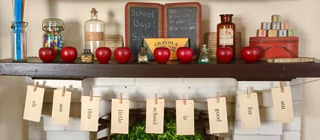 vintage school days mantel