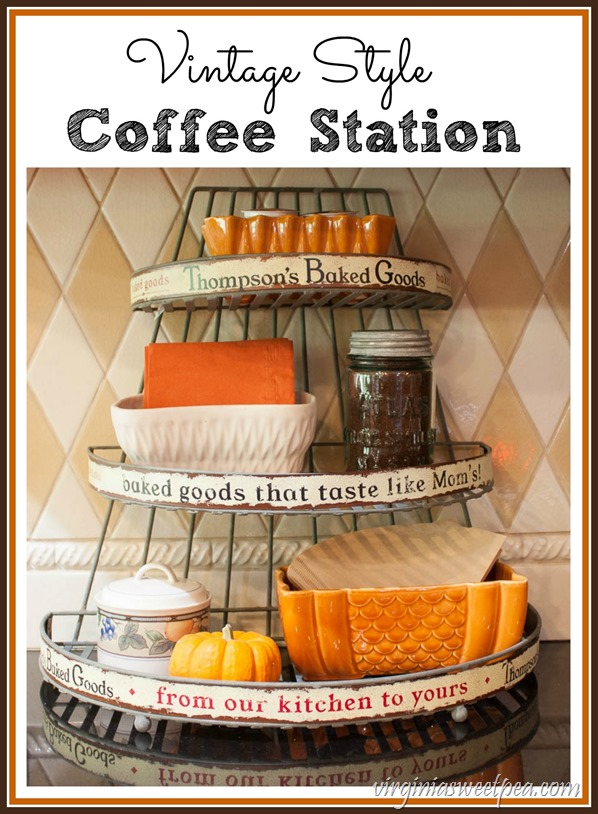 Vintage Style Coffee Station - A decorated for fall wire baked goods rack is used to hold coffee making supplies. virginiasweetpea.com