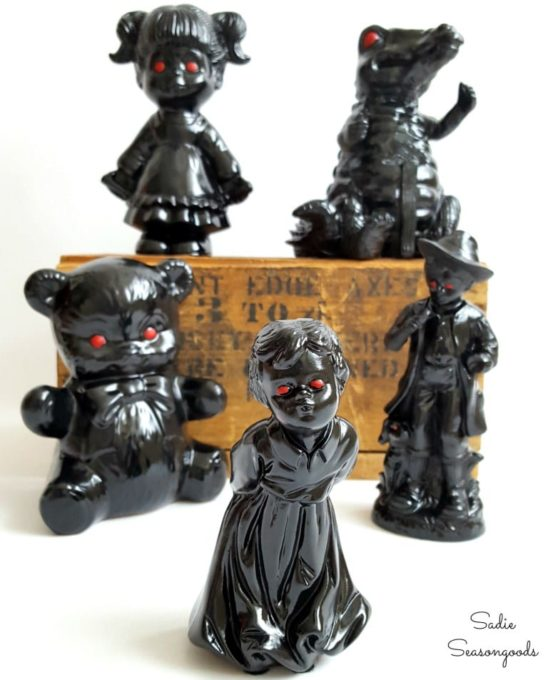 Thrift Shop Figurines Repurposed into Halloween Decor
