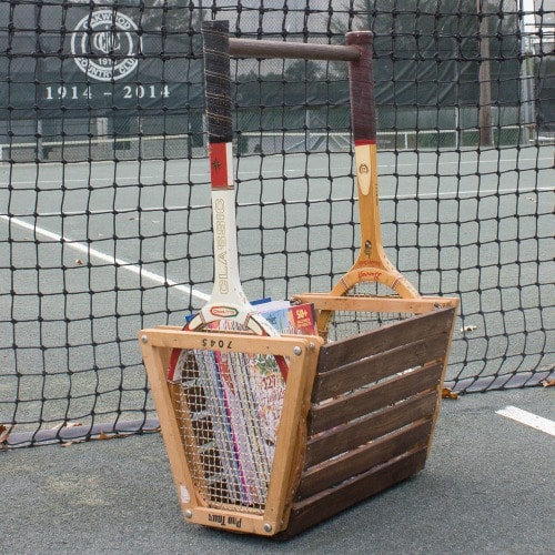 DIY Tennis Racket Basket - Make a basket perfect for storing books, magazines, knitting, and more. #repurpose #upcycle #upcycleidea #diy #tennisracket