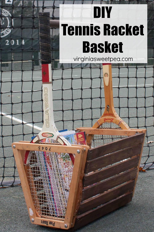 DIY Vintage Tennis Racket Basket - Use two vintage tennis rackets to make a unique basket.  #diyidea #diyproject #tennisproject #tennisracketupcycle via @spaula