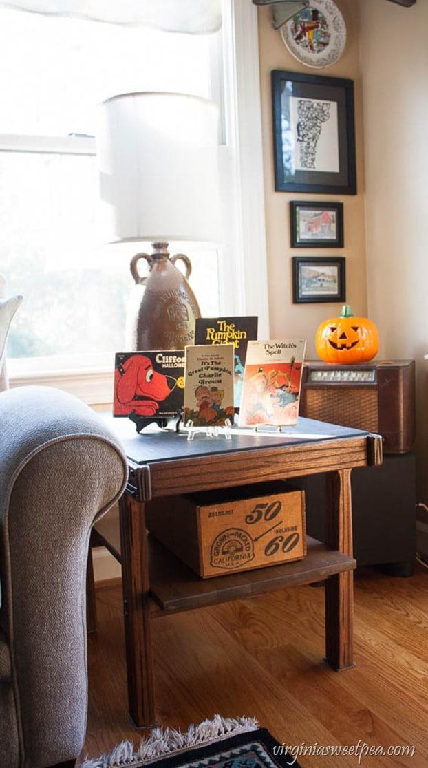 Halloween decor featuring vintage children's books