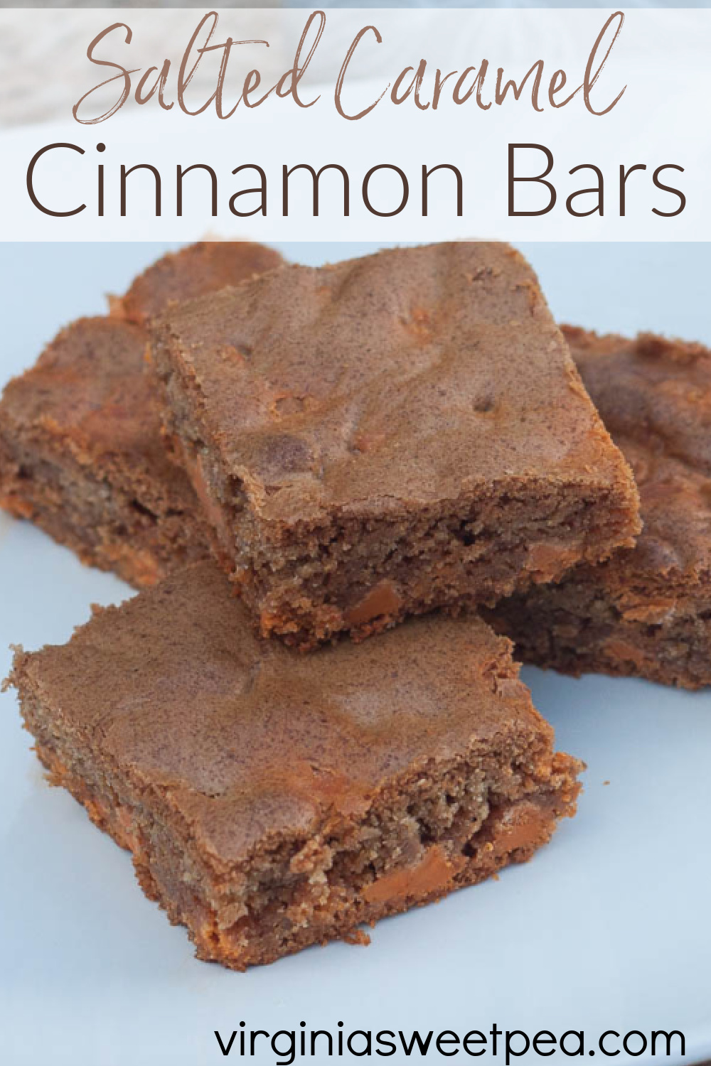 Salted Caramel Cinnamon Bars - Cinnamon infused batter is made extra tasty with the addition of Salted Caramel baking chips. This recipe is a real crowd pleaser! #cinnamonbars #barcookie #saltedcaramel via @spaula
