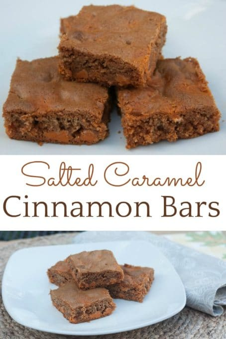 Bar Cookie made with cinnamon and salted caramel baking chips.