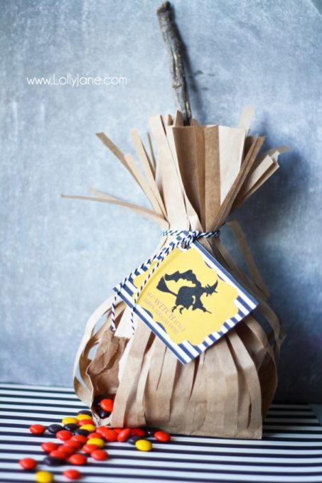 Witch's Broom Treat Bags for Halloween