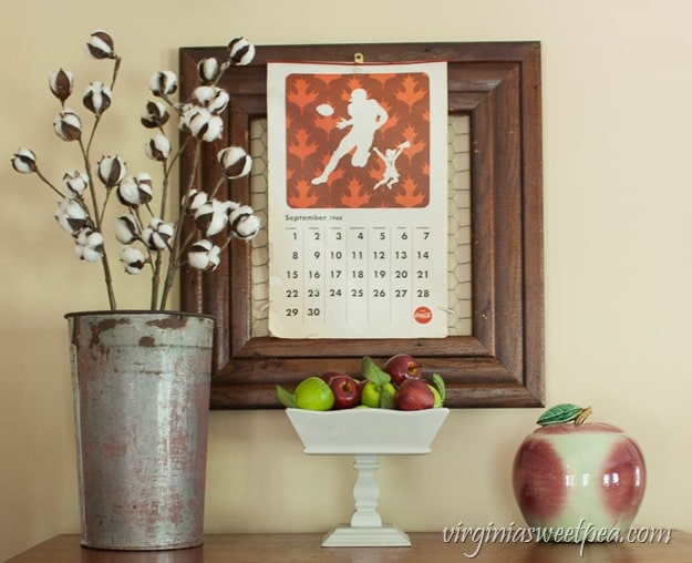 Fall Decor Featuring a 1968 Coca-Cola Calendar