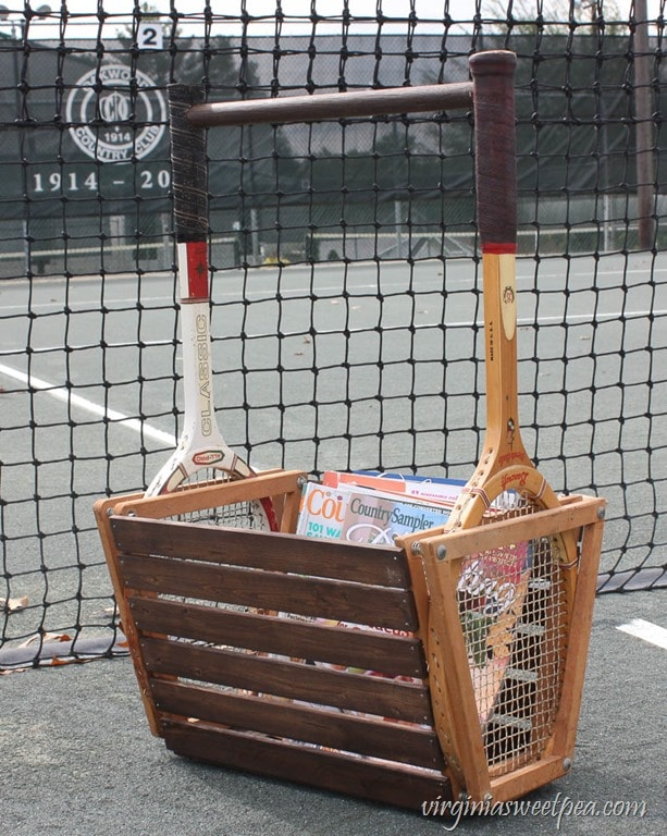 Vintage Tennis Racket Basket - Make a basket using two vintage tennis rackets. Get the step-by-step tutorial. virginiasweetpea.com
