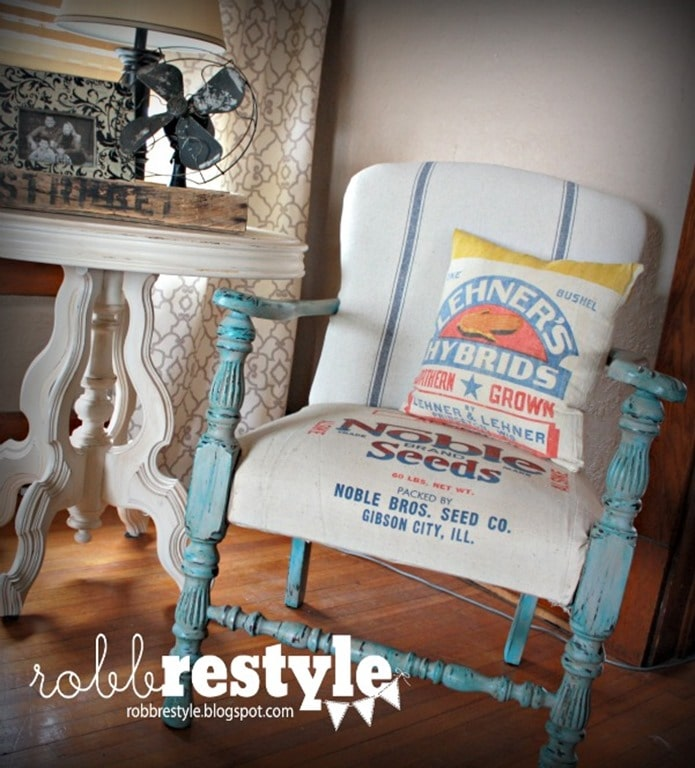 Chair Reupholstered with a Feed Sack - Robb Restyle