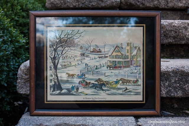 Currier and Ives Lithograph - A Home in the Country - Winter Sleigh Ride - virginiasweetpea.com