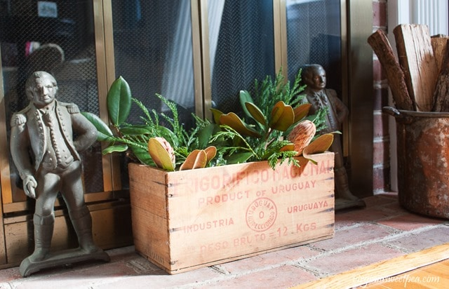 Vintage Box filled with Greens with Vintage George Washington Andirons - virginiasweetpea.com