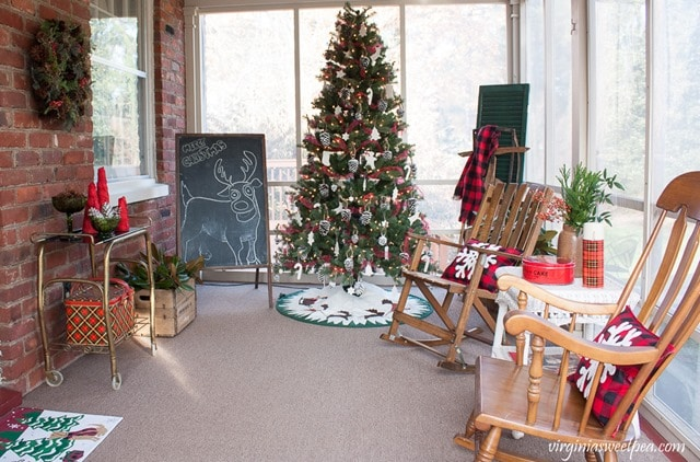 Christmas on the Porch - A porch decorated for Christmas with Vintage Style. virginiasweetpea.com