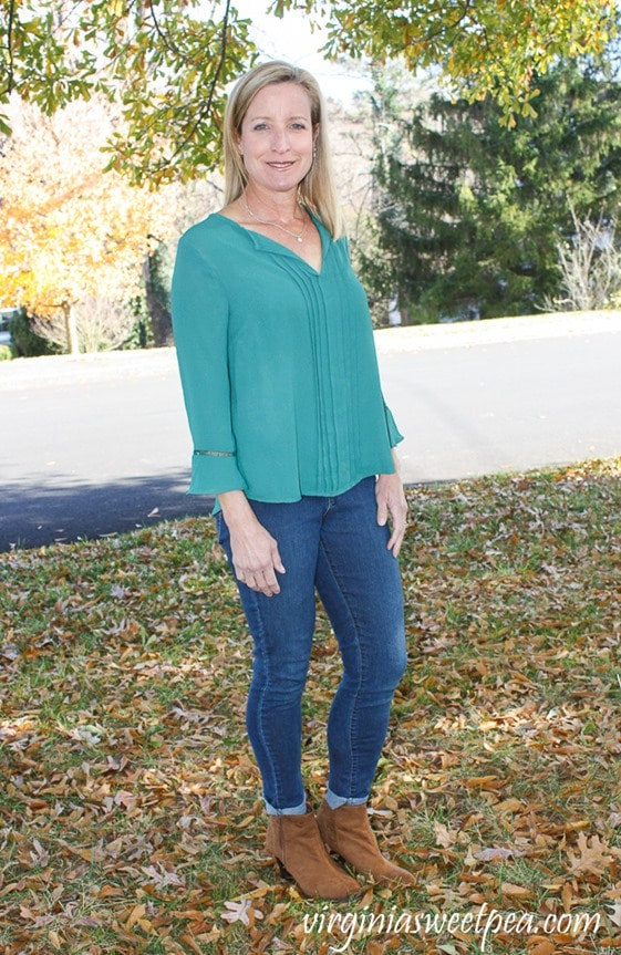 Stitch Fix Review - December 2017 - Q & A Leola Pleated Front Bell Sleeve Blouse - virginiasweetpea.com