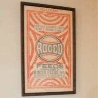 Framed Vintage Rocco Feed Sack