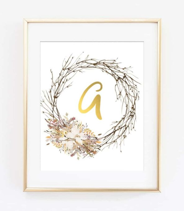 Woodland Initial Printable Art