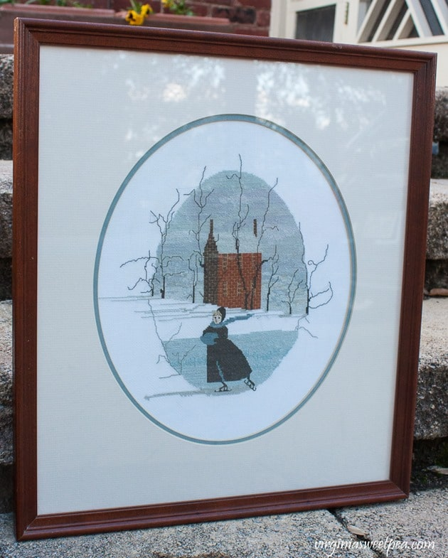 P Buckley Moss Solitary Skater Cross Stitch - virginiasweetpea.com
