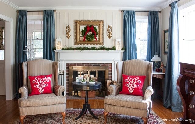 Christmas Decor in the Living Room - Get ideas for Christmas decorating using mostly vintage and antique items. virginiasweetpea.com