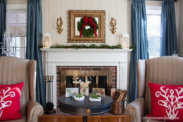 Christmas Living Room - Mantel decorated with DIY Wood Lanterns - virginiasweetpea.com