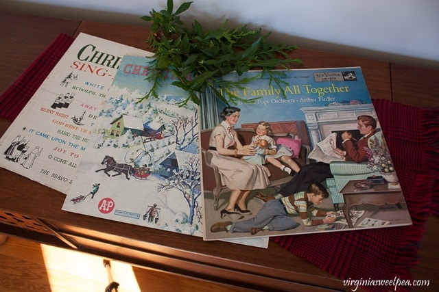 Vintage Christmas Albums used as Christmas Decor - virginiasweetpea.com