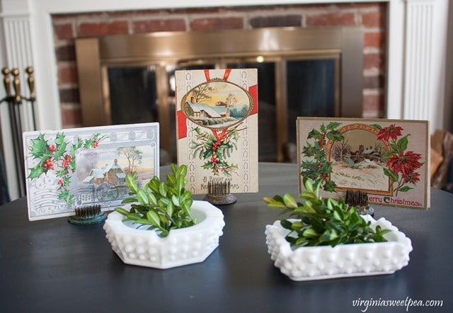 Vintage Christmas Post Cards with Milk Glass Ash Trays - virginiasweetpea.com