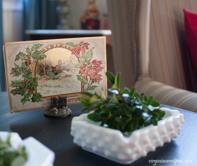 Vintage Christmas Post Card with Milk Glass Ash Trays - virginiasweetpea.com